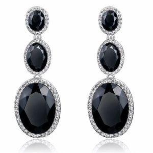 Alloy crystal dangle earrings